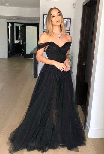 Off-the-Shoulder Evening Gown