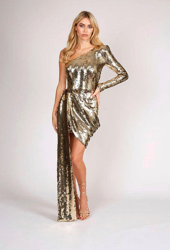 Gold Dress With One Sleeve