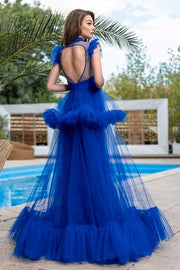 Ruffled A-line gown with high neck