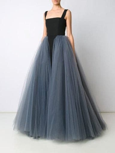 Black and gray A-line tulle dress