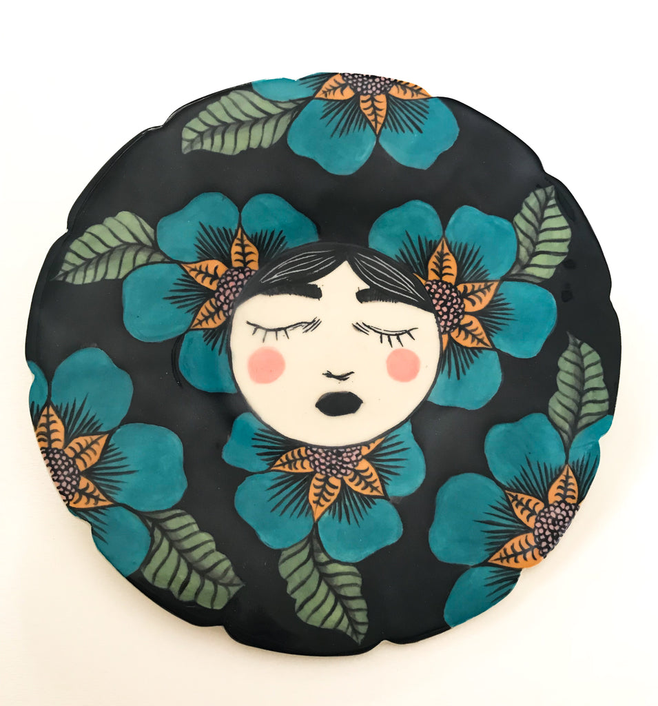 Jennifer Parks - Blue Flowers Plate