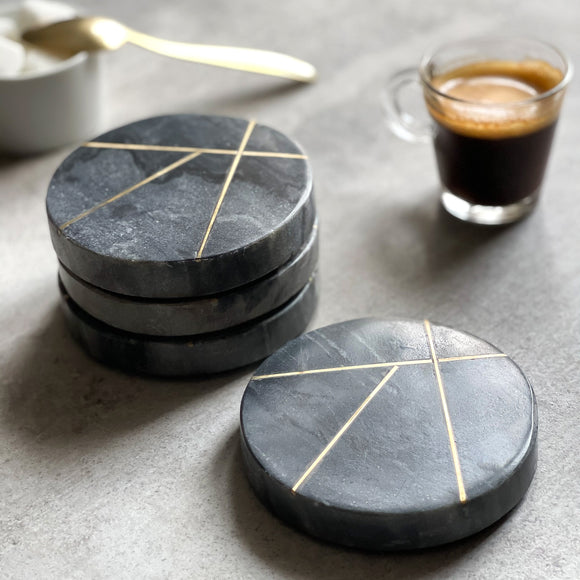 Set of 4 Marble Contemporary Coasters With Brass Insert Detailing
