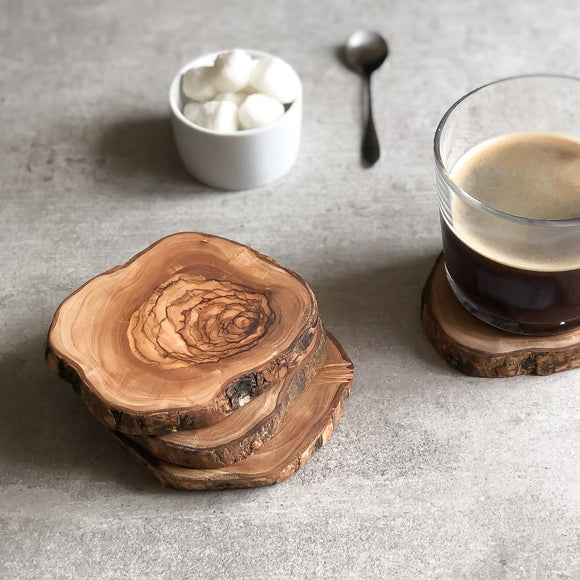 Set of 4 Olive Wood Live Edge Coasters