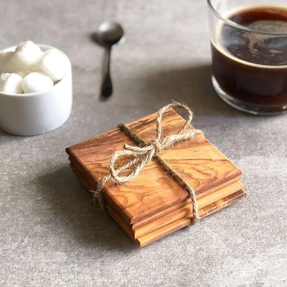 Set of 4 Italian Olive Wood Square Coasters