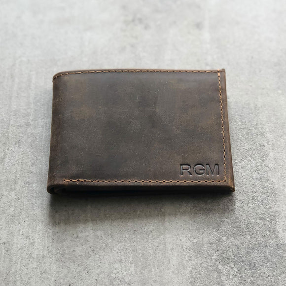 Personalised Embossed Monogram Leather Wallet - Italian Saddle Leather