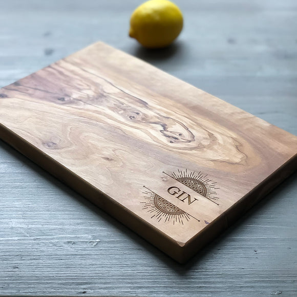 Olive Wood 'Gin' Motif Chopping Board