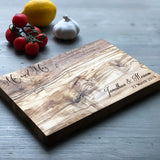 "Personalised ""Mr and Mrs"" Olive Wood Cheese / Chopping Board"