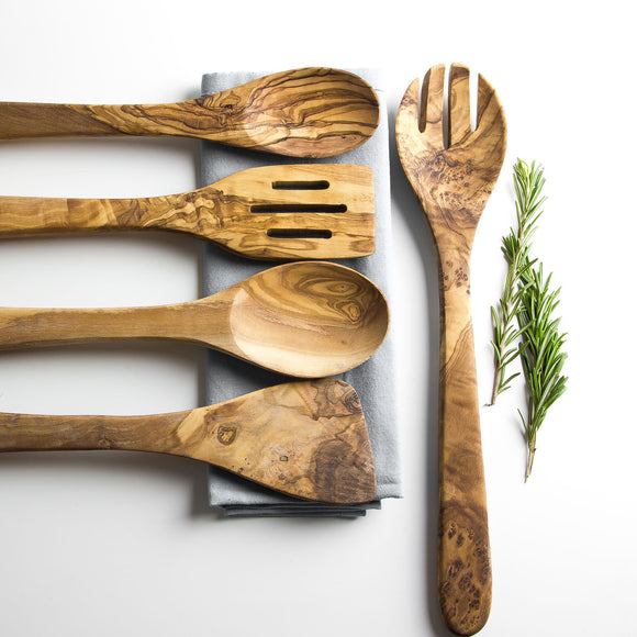 Traditional Olive Wood 5 Piece Kitchen Utensil Set