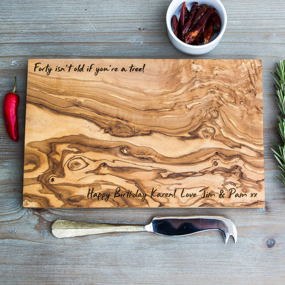 Personalised Olive Wood Cheese / Chopping Board