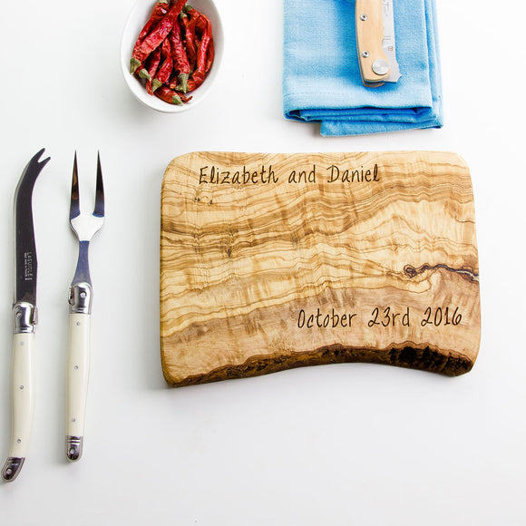 Personalised Rustic Olive Wood Cheese Board - 5 Sizes Available