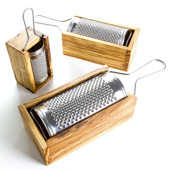 Italian-Made Cheese Grater With Olive Wood Box