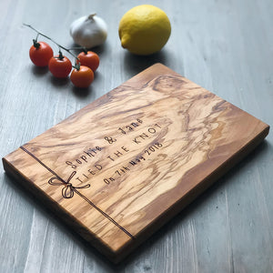 "Olive Wood ""Tied The Knot"" Cheese Board"