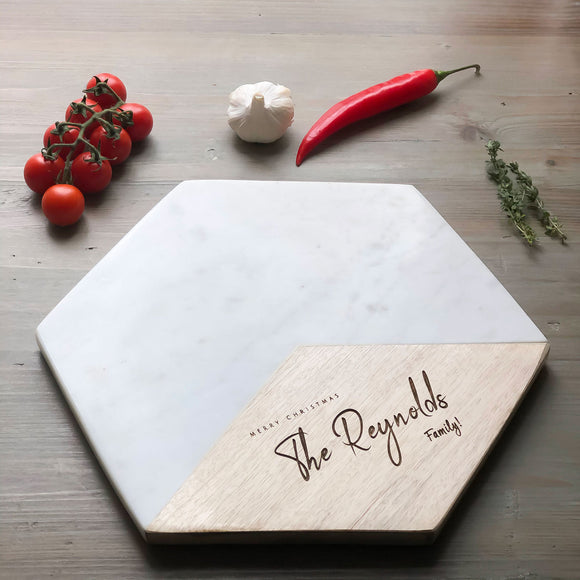 Personalised Hexagonal Marble & Mango Serving Platters
