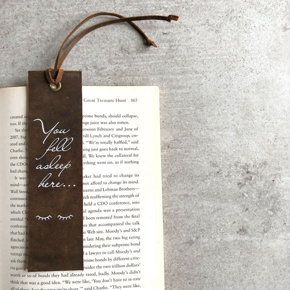 Italian Leather Bookmark - You fell asleep here