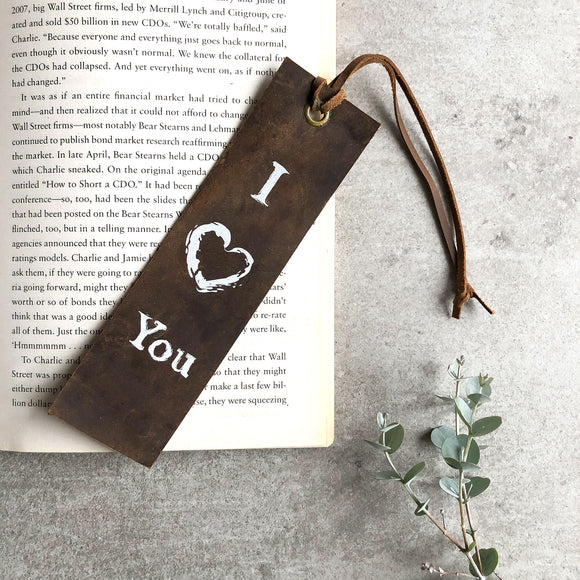 Italian Leather Bookmark - I ♥ You