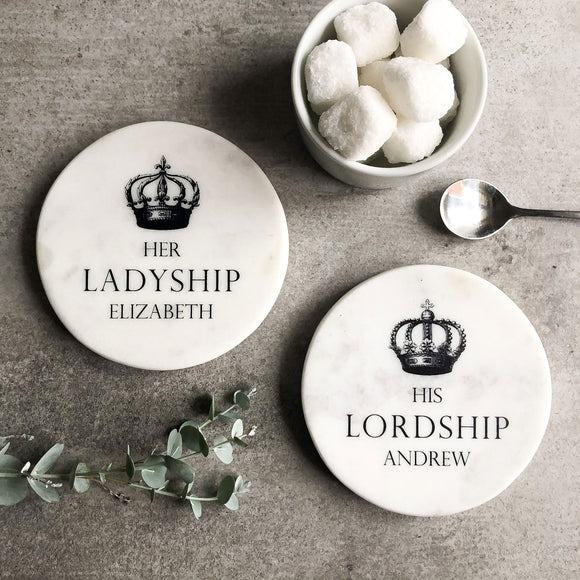 Pair of Personalised Marble Coasters