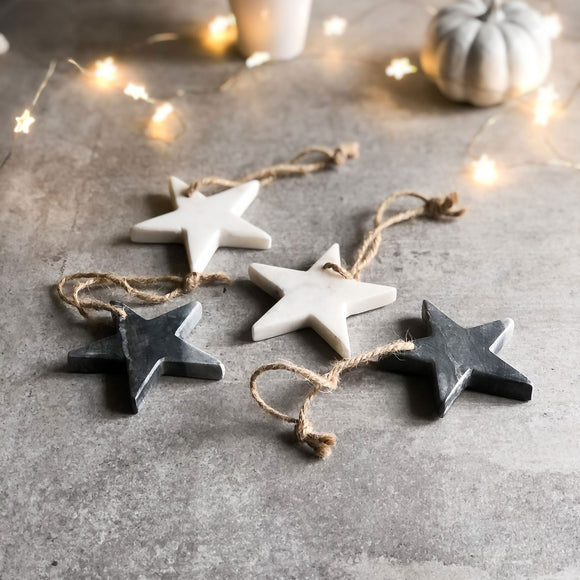 Set of 2 Solid Marble Stars