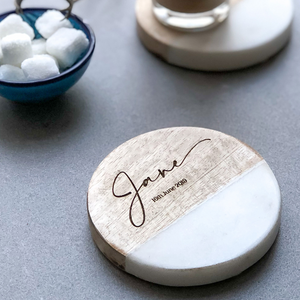 Personalised Marble & Mango Wood Coaster Gift (Inc Gift Box)