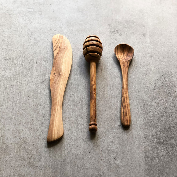 Olive Wood Breakfast Set
