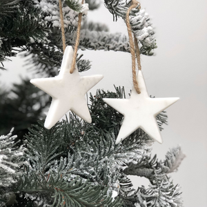 Set of 2 Solid Marble Stars | Christmas Decoration | Christmas Tree | White Marble | Grey Marble | Baubles | Contemporary