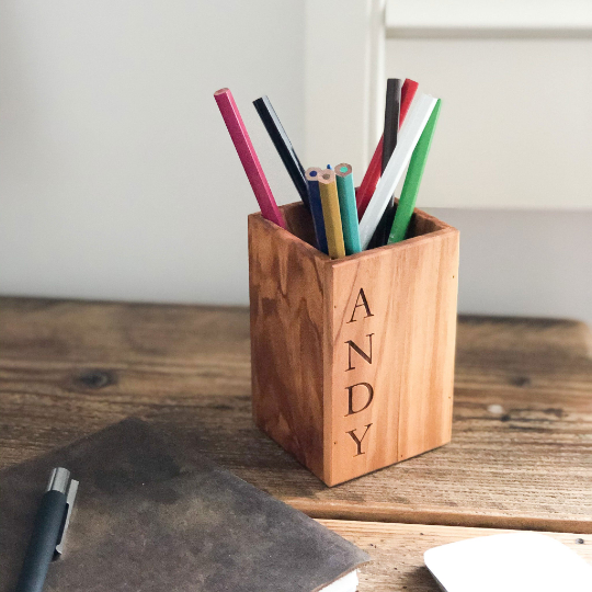 Personalized Italian Olive Wood Pencil Pen Pot