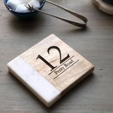Personalised New Home Marble & Wood Coaster (Inc Gift Box) | Housewarming Gift | Personalized | Personalised Coaster | New Home Gift