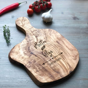Personalized Couples Gift Rustic Olive Wood Board