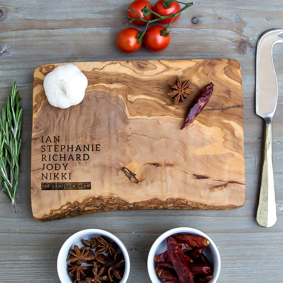 Personalised Family Rustic Wooden Chopping/Cutting/Cheese Board