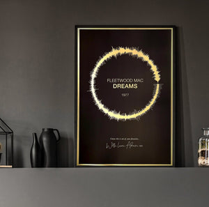 Personalised Soundwave Print on Gold Metallic Paper