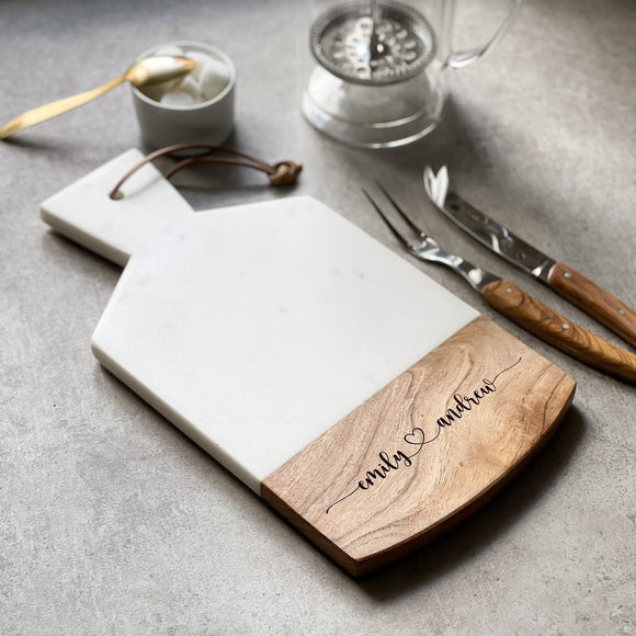 Personalised Marble & Acacia Wood Serving Cheese/Bread Board