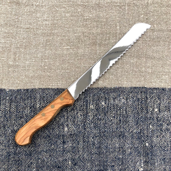 Italian Made Bread Knife - Olive Wood Handle