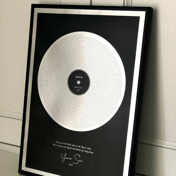 Personalised Metallic Record Print