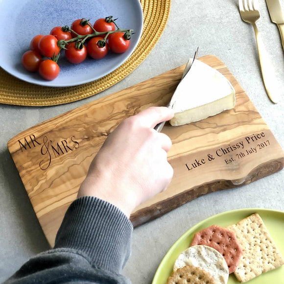 Personalised 'Mr & Mrs' Rustic Cheese Board