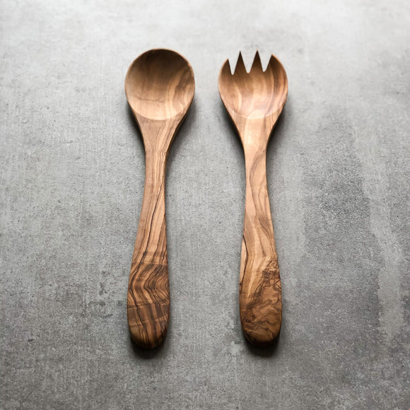 Traditional Olive Wood Wooden Salad Servers