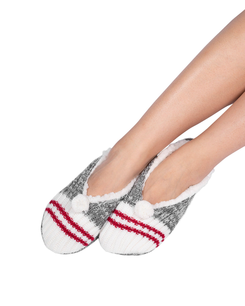 Canadiana Plush Pom-Pom Slippers - Smoked Pearl
