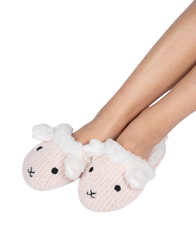 Critter Slide Slipper with hard-bottom sole - Lamb (Millennial Pink)