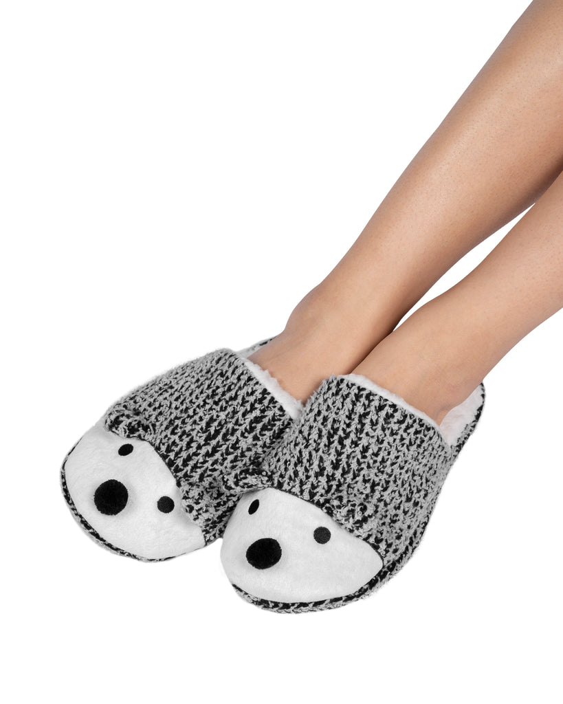 Critter Slide Slipper with hard-bottom sole - Hedgehog (Wild Dove)