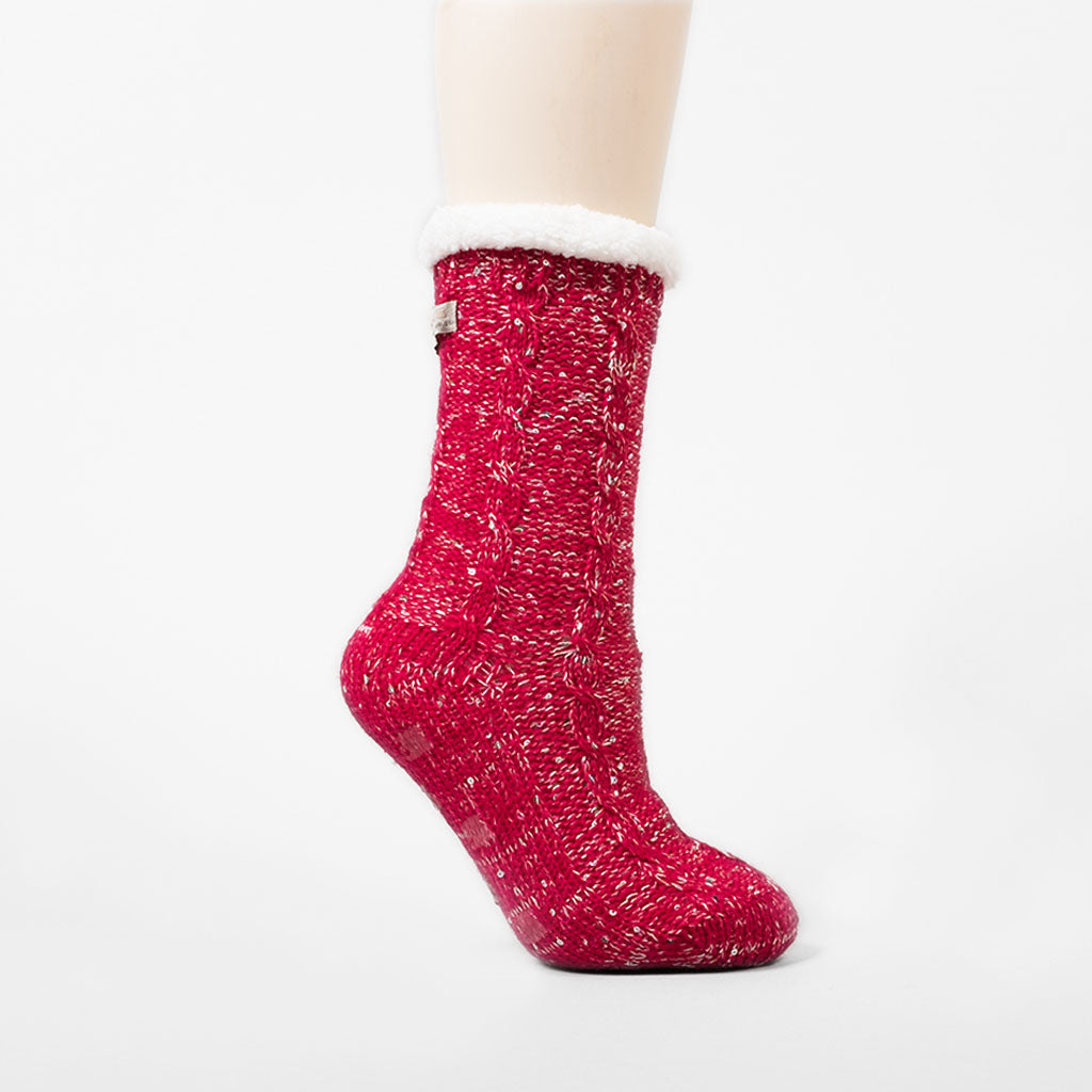 Sparkle and Shine Slipper Sock - Deep Red