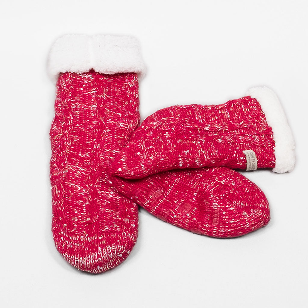 Sparkle and Shine Slipper Socks - Deep Red