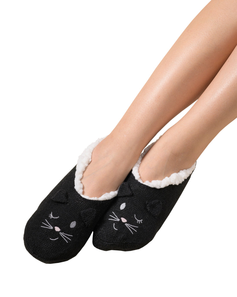 Critter Ankle Slipper - Cat (Black)
