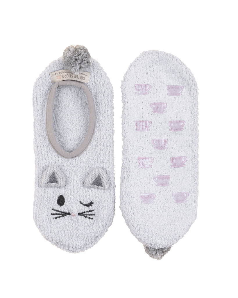 Fluffy Friend Plush Marshmallow Footlet - Cat (Soft Grey)