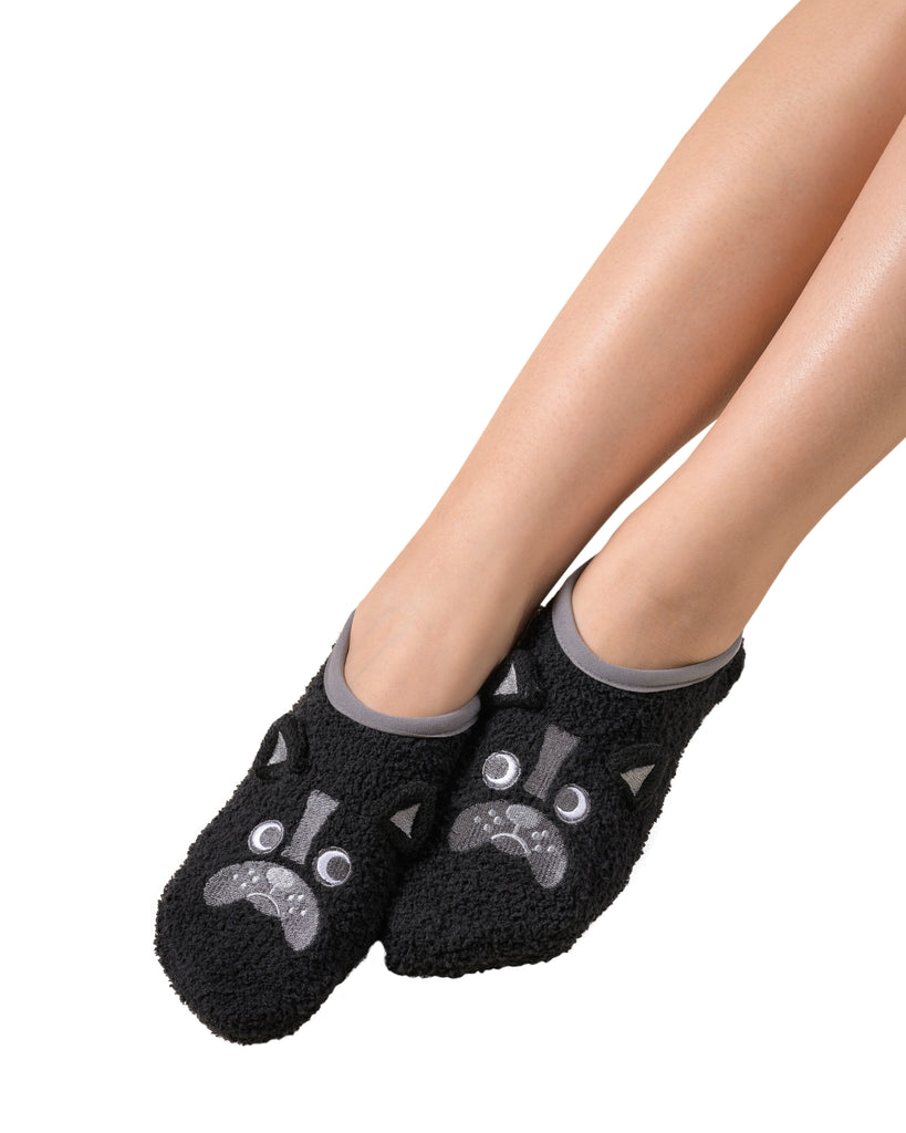 Fluffy Friend Plush Marshmallow Footlet - Dog (Black)