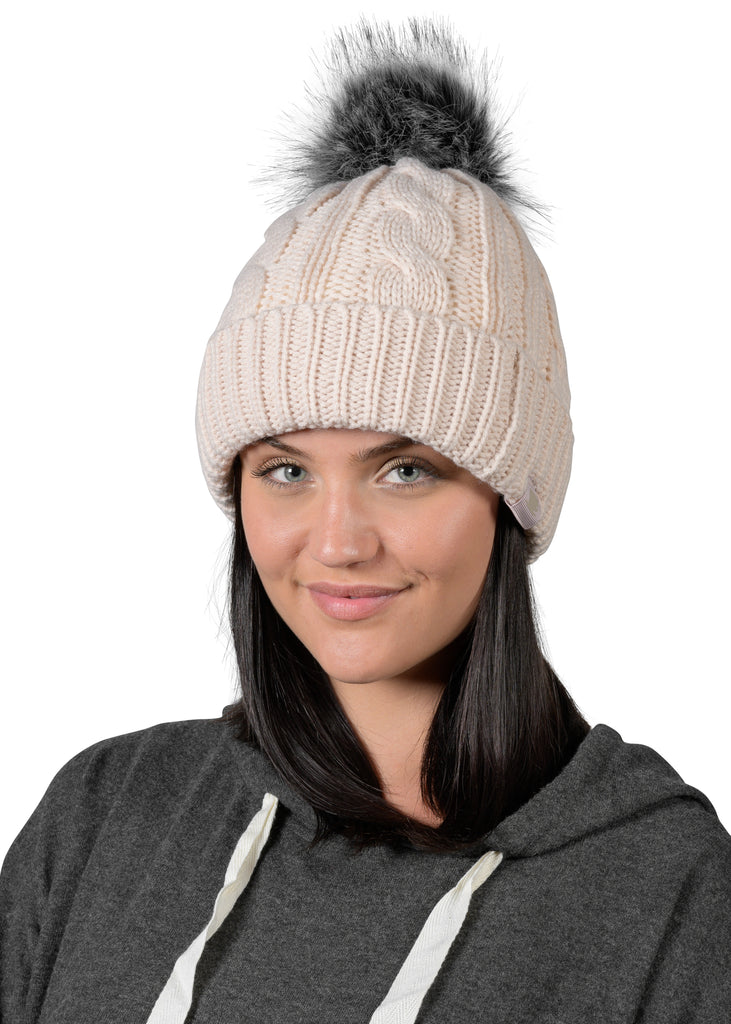 Textured Cable Knit Hat - Millennial Pink