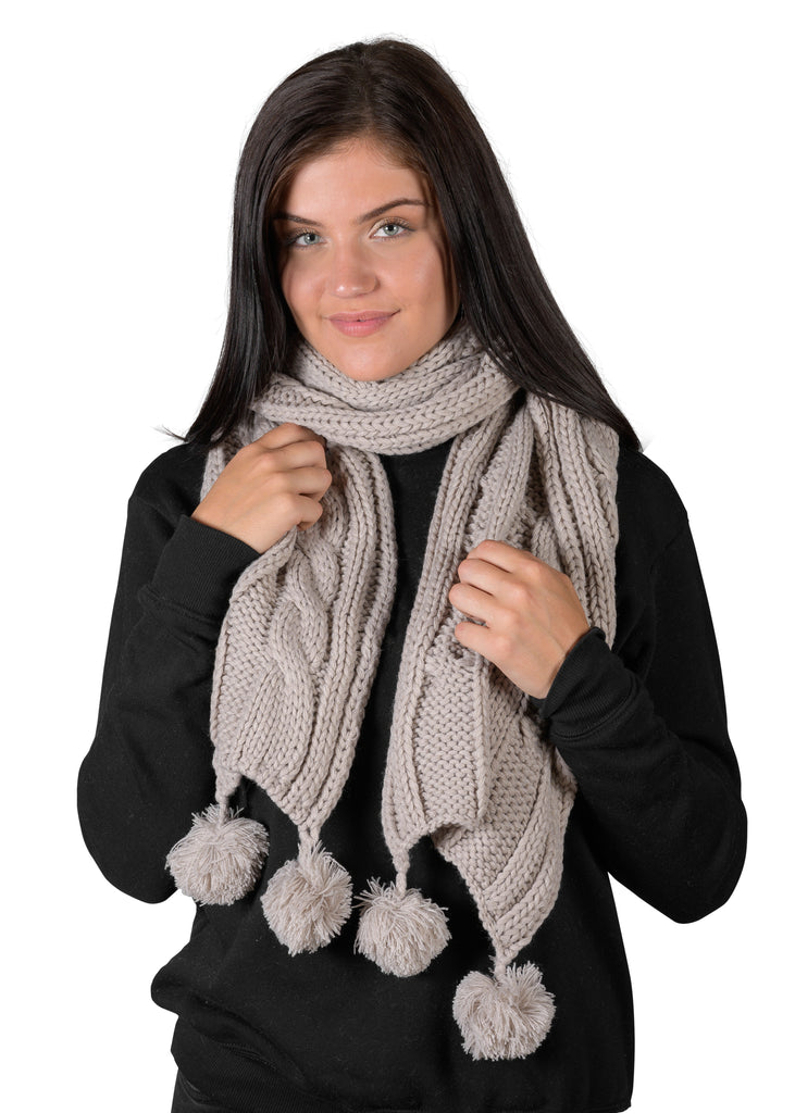COZY Textured Cable Knit Pom Pom Scarf