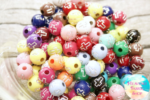 Multi Color Round Cross Beads
