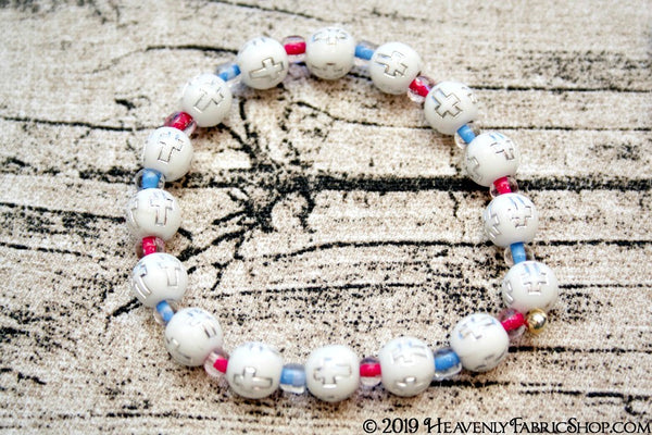 Round Acrylic Cross Bead Stretch Bracelet