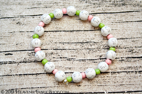 Acrylic Round Cross Faith Bead Stretch Cord Bracelet