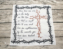 Jesus Bore Our Sins 1 Peter 2:24 Prayer Cloth Cotton Mini Fabric Panel