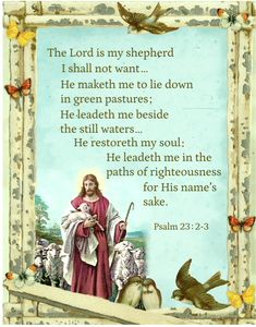 23rd Psalm The Lord Is My Shepherd Large Cotton Fabric Panel