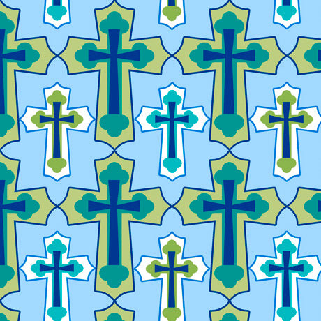 Psalms Set Crosses Blue Cotton Fabric